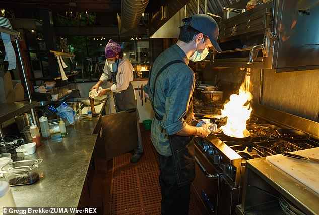 The restaurant sector (file image) has objected to Brown's action, with the Oregon Restaurant & Lodging Association declaring that the state lost more than 1,000 food service businesses in 2020 and that 200 more closed permanently so far this year