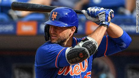 Tebow prepares to bat in the seventh inning during a spring training game for the New York Mets.