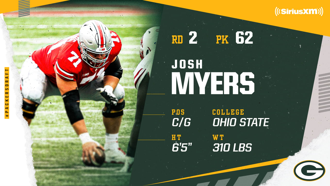 Packers select Ohio State C/G Josh Myers in the second round, No. 62 overall