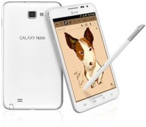Galaxy Note White front and back with S-Pen