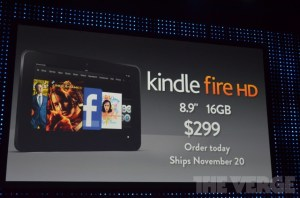 The Kindle Fire HD 8.9 priced at $299 for 16 GB