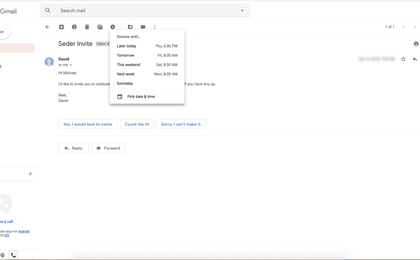 Gmail's updated web interface with snooze email function