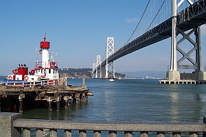 Oakland Bay Bridge and fireboat (A. Kotok)
