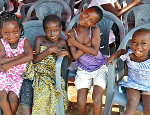 Girls at a malaria prevention event in Ghana (USAID.gov)