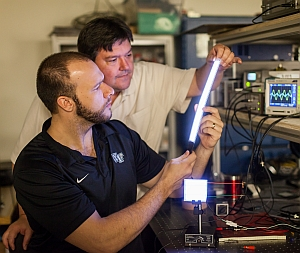 Greg Smith (foreground) and DavidCarroll with nanotech light (Ken Bennett, Wake Forest University)