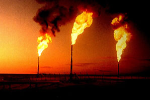 Natural gas flaring from oil refineries