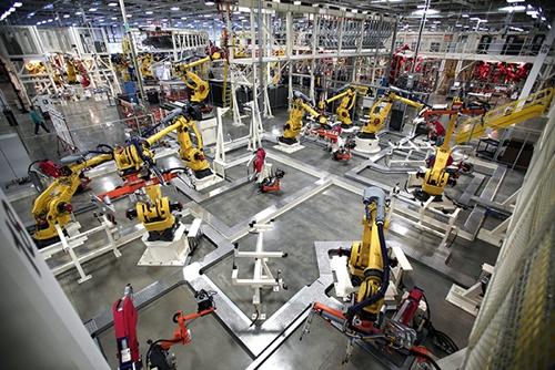 Industrial robots on factory floor