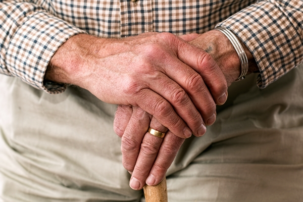 Hands of older person