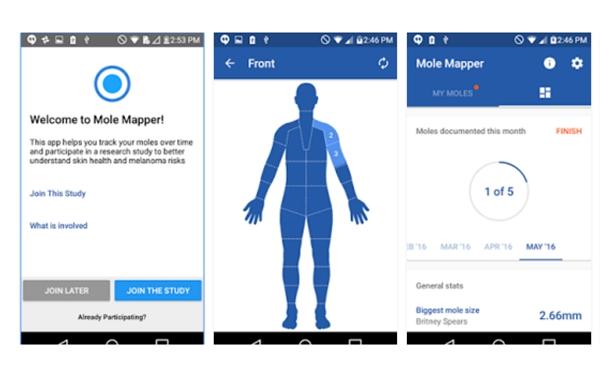 Mole Mapper app screens