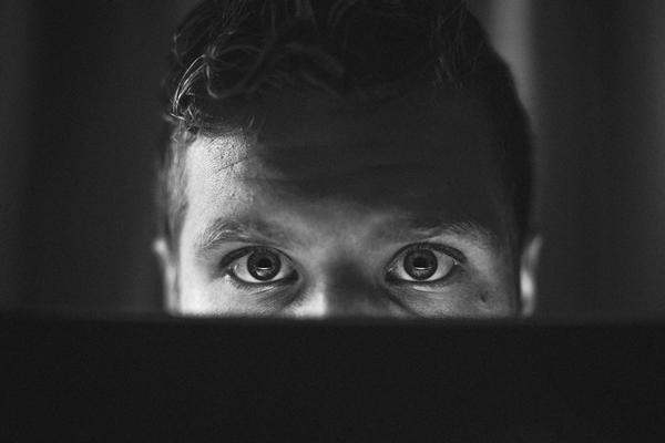 Eyes looking at laptop