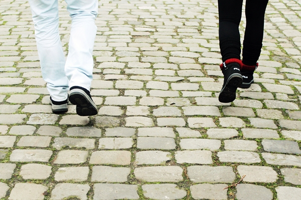 Walking on cobblestones