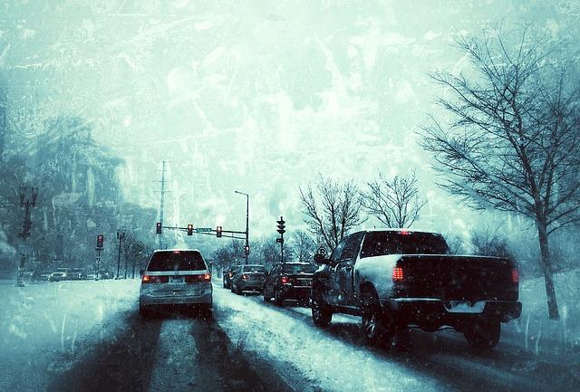 Winter driving scene