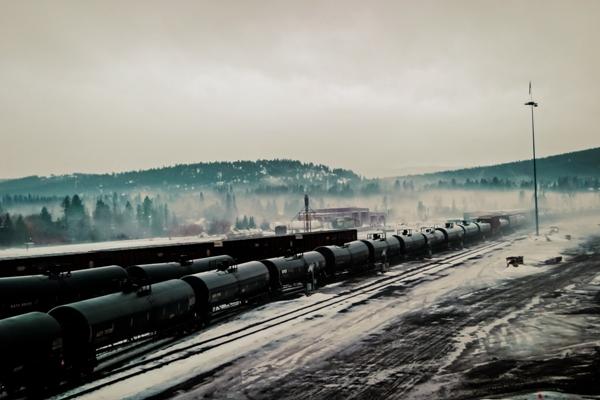 Railyard in winter