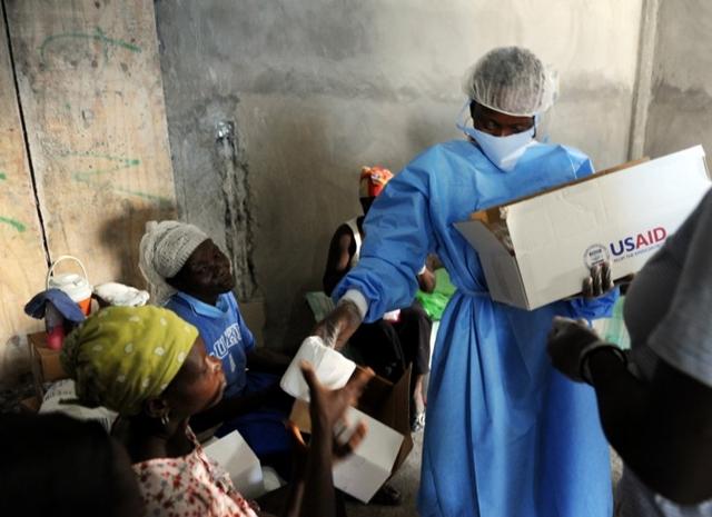 Distributing water hygiene kits