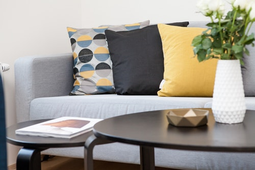 Couch, cushions, table
