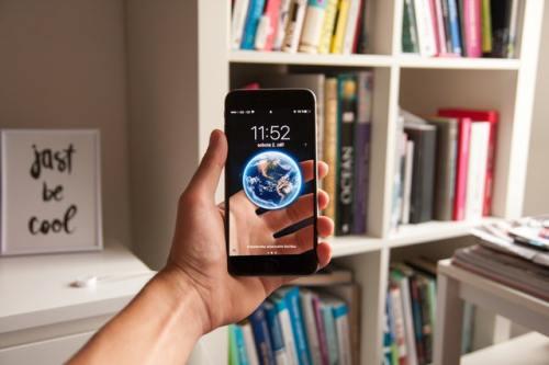 Earth on phone screen