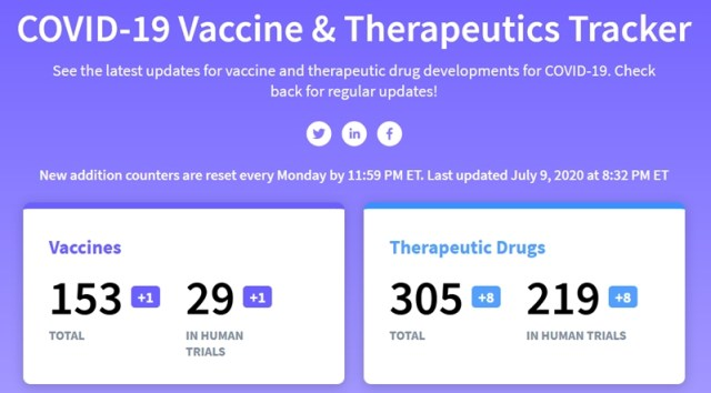 Covid-19 vaccine and therapy tracker