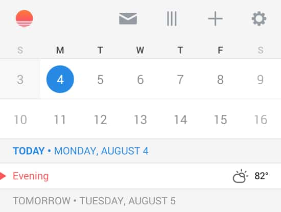 The excellent and free Sunrise calendaring app skips the irritating skeuomorphism of Samsung's SPlanner for a spare, digitally native interface and welcome added features.