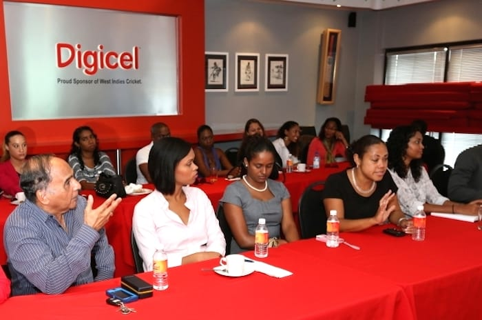 "Ken Attale, Executive Chairman of Lonsdale Advertising makes a point at the Breakfast Meeting on the new ""DigicelMore"" advertising product"