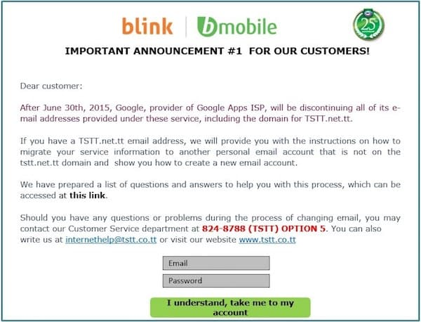 Google Drops Email For Isps Tstt Dumps Email