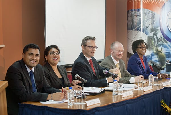At TATT's OTT Open Forum, panelists respond to a question from the floor. From left: TATT's Kirk Sookram and Annie Baldeo, Digicel's David Geary and Kieran Meskell and TSTT's Christa Leith. Photo by Mark Lyndersay.