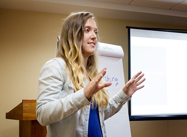 Lindsey Anderson explains security strategies at a recent MATT seminar. Photo by Mark Lyndersay.