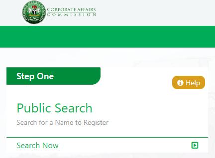 Screenshot of CAC e-registration portal