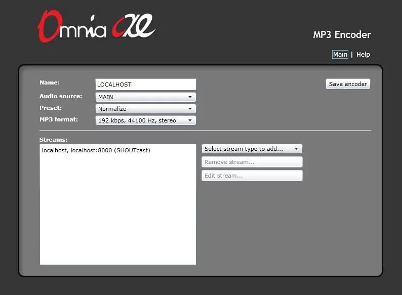 Omnia AX/E encodeur ajout flux