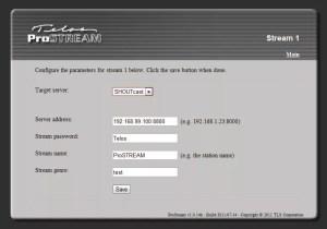 Telos ProStream Configure