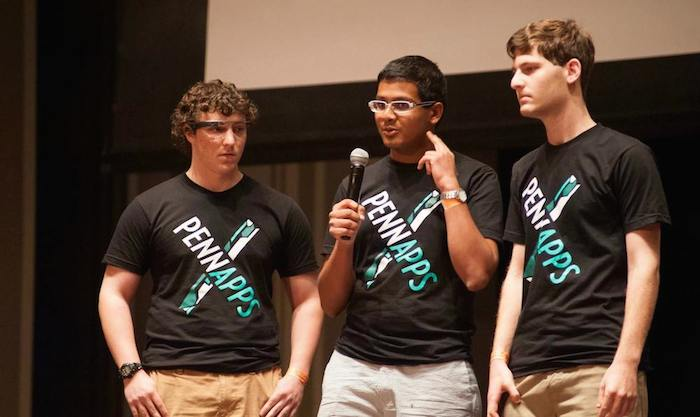 The ThirdEye team pitching during the finals. (Photo courtesy of Major League Hacking)