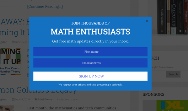 Pop-up on Math Blog