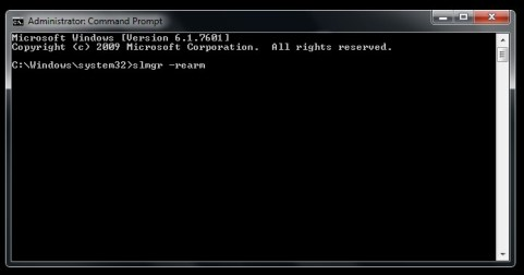 slmgr resarm command line as administrator