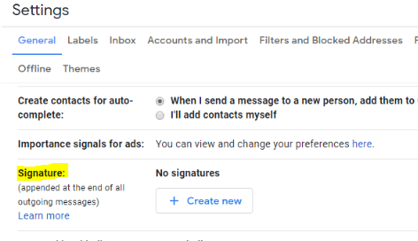 scroll down to signature panel gmail