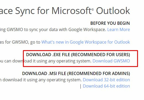 Google workspace sync for outlook