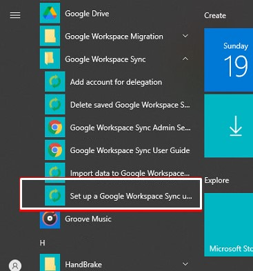 setup google workspace sync
