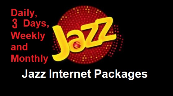 Jazz internet packages hourly, daily, 3days, weekly and monthly