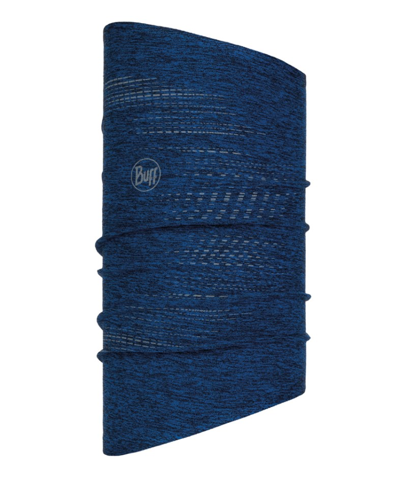 "Studio photo of the BUFF® DryFLX Neckwarmer Design ""R-Blue"". Source: buff.eu"