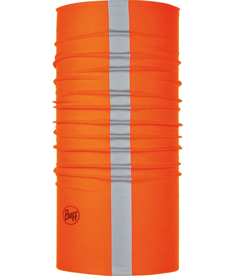 "Studio photo of the Coolnet UVurlencodedmlaplussign BUFF® Design ""Reflective Solid Orange Fluor"". Source: buff.eu"