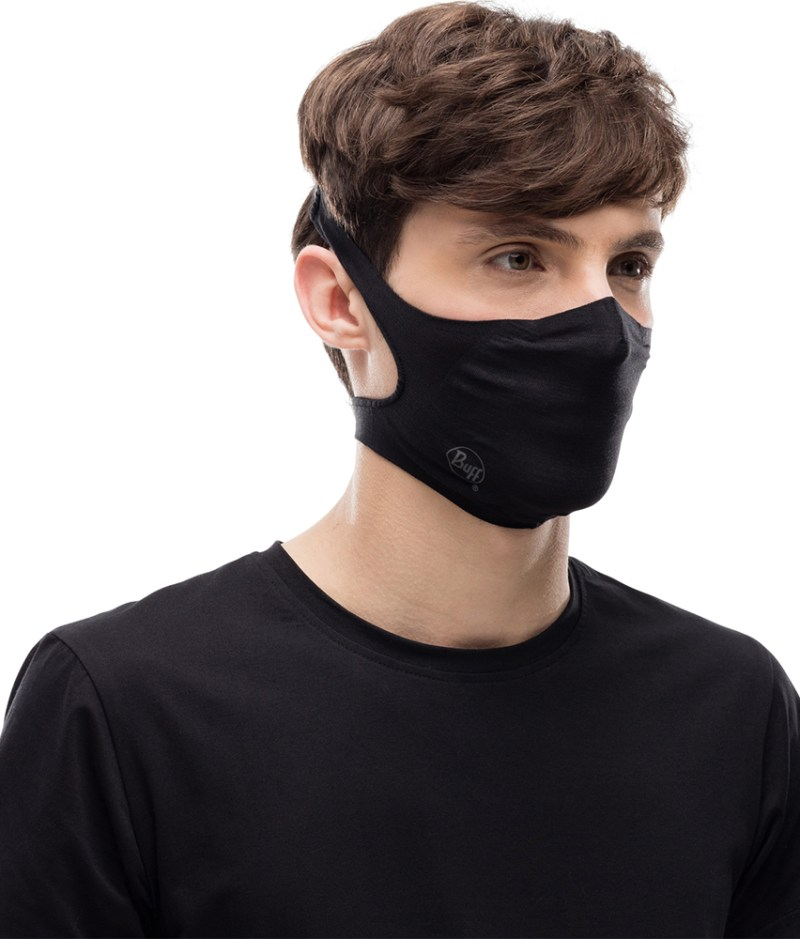 "Studio photo of BUFF® Filter Mask Design ""Solid Black"" worn by a man. Source: buff.eu"