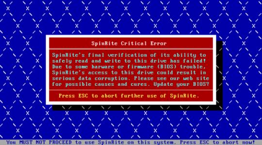 Vritual Box - SpinRite Critical Error