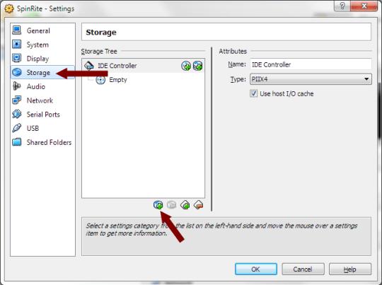VirtualBox - Storage Settings