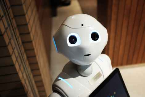 Artificial intelligence  and high angle photo of robot