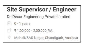 D CORE Site Supervisor / Engineer FOR De Decor Engineering Private Limited