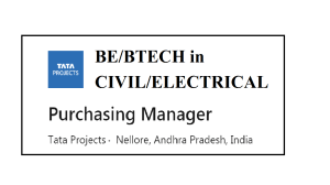 TATA PROJECTS PURCHASE Tata Projects ltd recruitment for Purchasing II BE/BTECH CIVIL