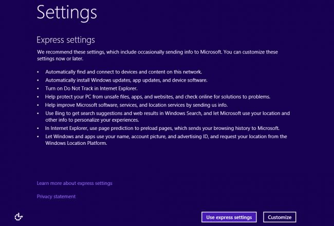 Windows 10 setting