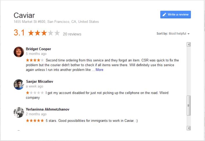 cavier google review
