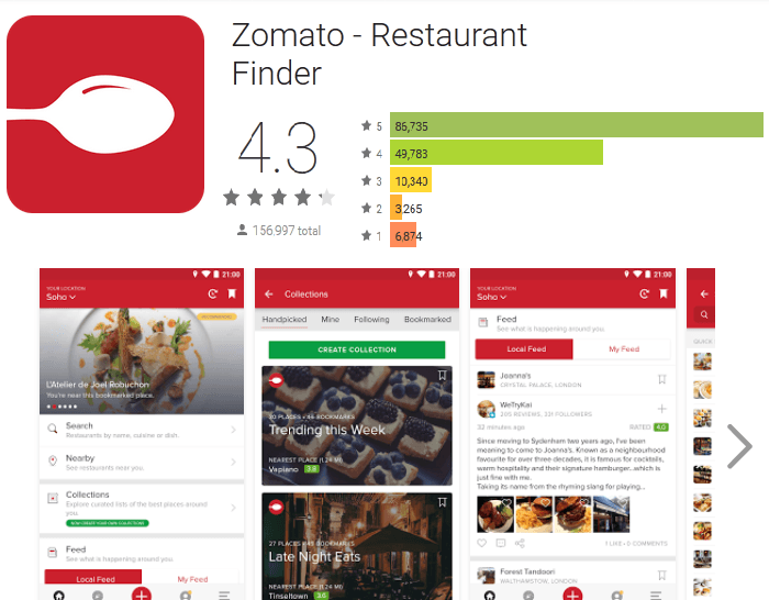 Zomato - Best food delivery Apss in India