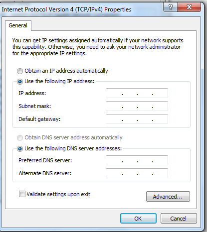TCP/IP v4 Setting