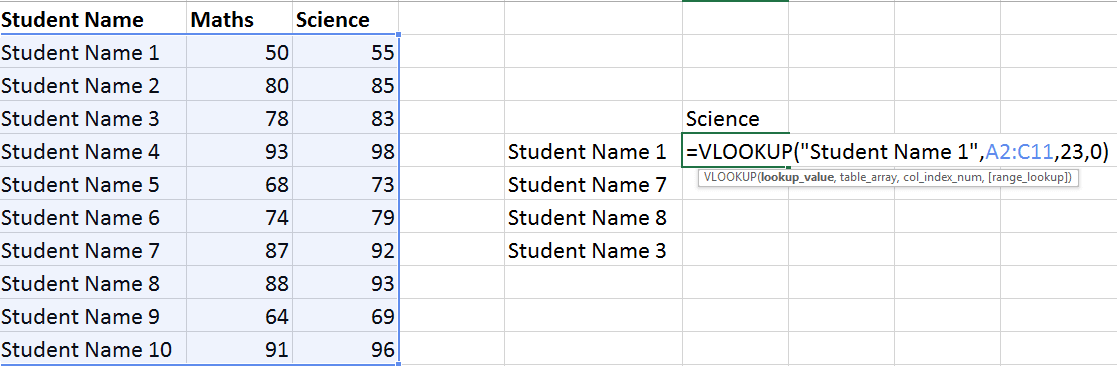 Excel Vlookup Example