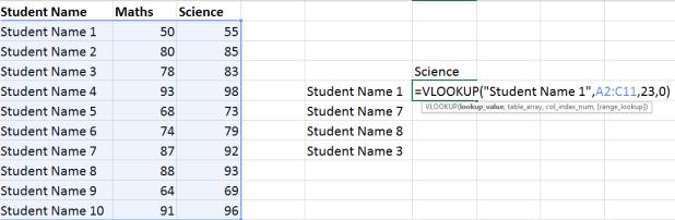 Excel Vlookup simple Examples